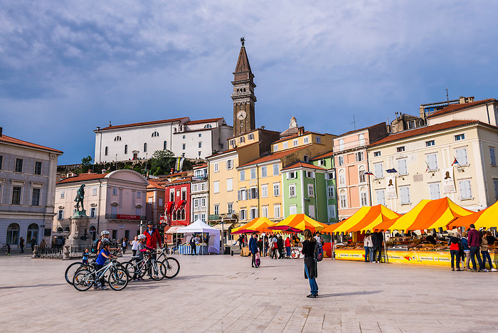St George Church bell tower, seen from Giuseppe Tartini Square,
