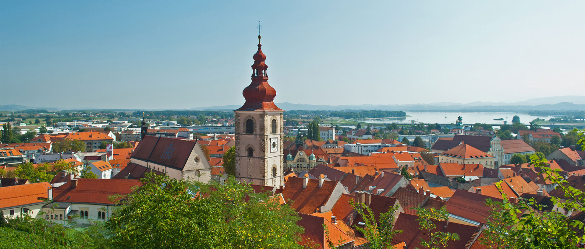 Church and old city of Slovenia town - Ptuj