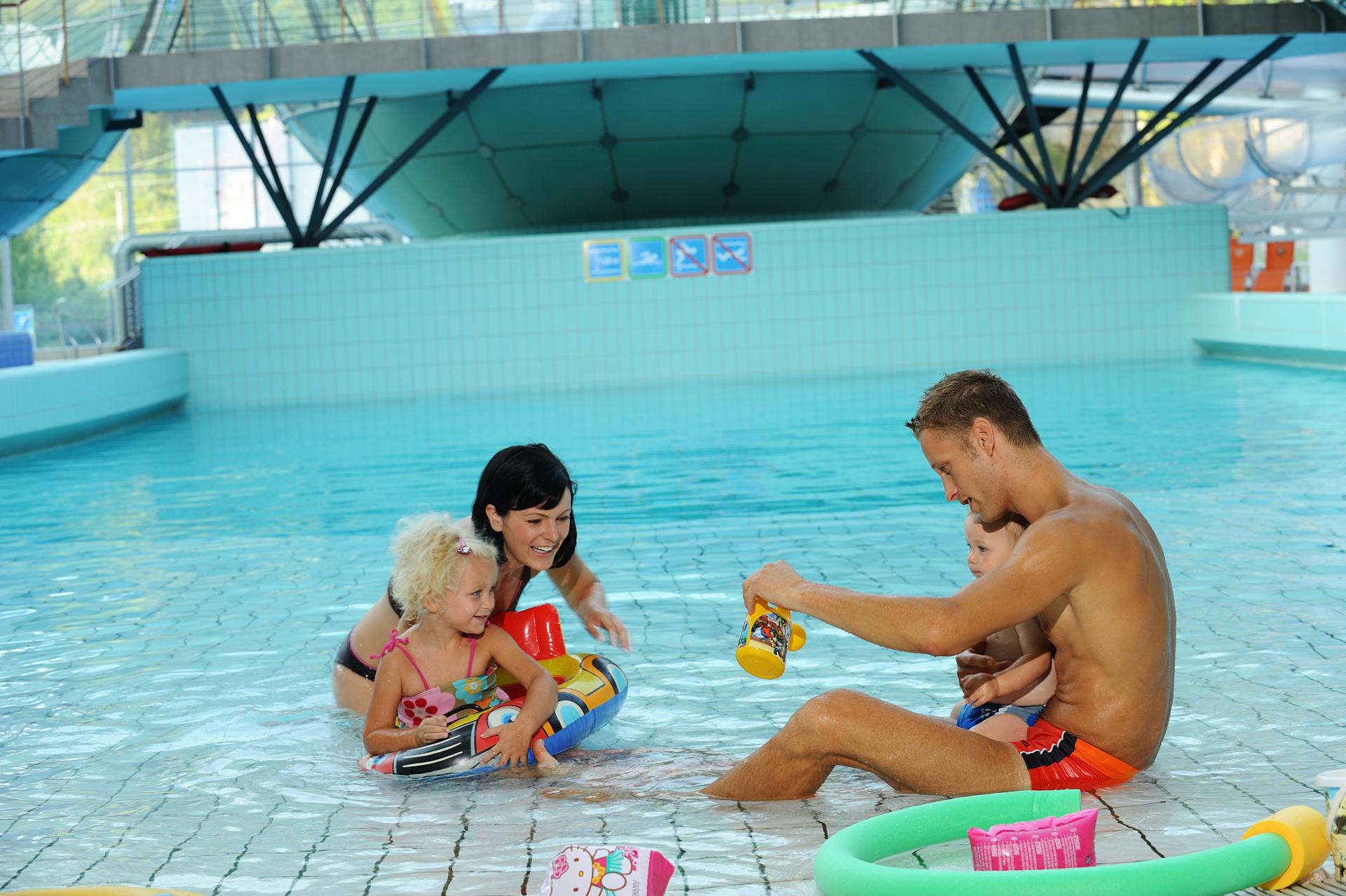 Fammily in aquapark